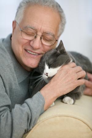 Vieil homme avec chat